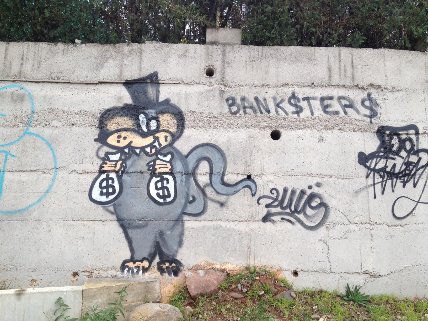 Bankster-Graffiti in Benicàssim
